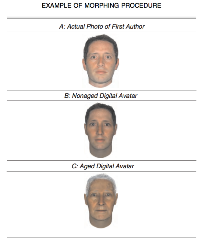 Here's an example of the first author's face normally, digitized, and age-progressed