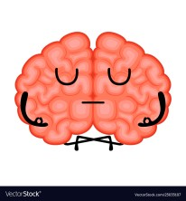Isolated meditating brain cartoon